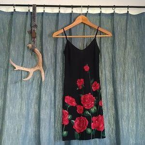 Dresses & Skirts - Floral Black Dress / Red Roses